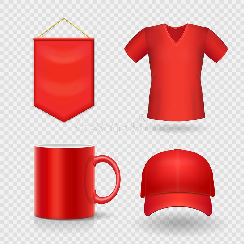 Blank business corporate promotional red identity gifts, packaging and souvenirs template set. vector illustration