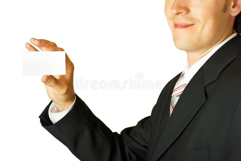 blank businessman card holding young στοκ φωτογραφία με δικαίωμα ελεύθερης χρήσης