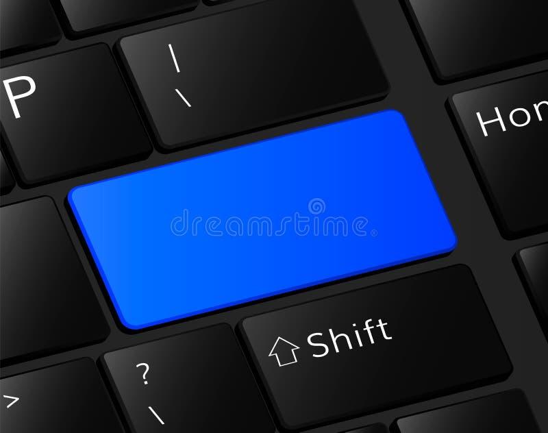 Blank button on keyboard Empty blue button frame. Blank button on keyboard Empty blue button stock illustration