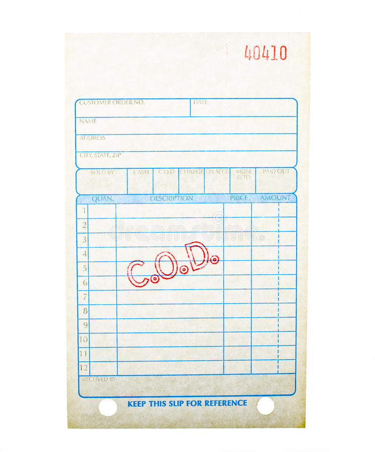Blank C.O.D. invoice stock photo