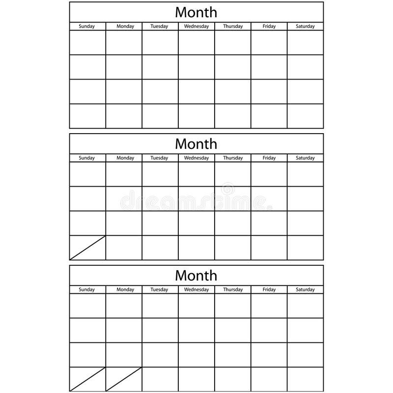 blank calendar 3 templates stock vector illustration of month