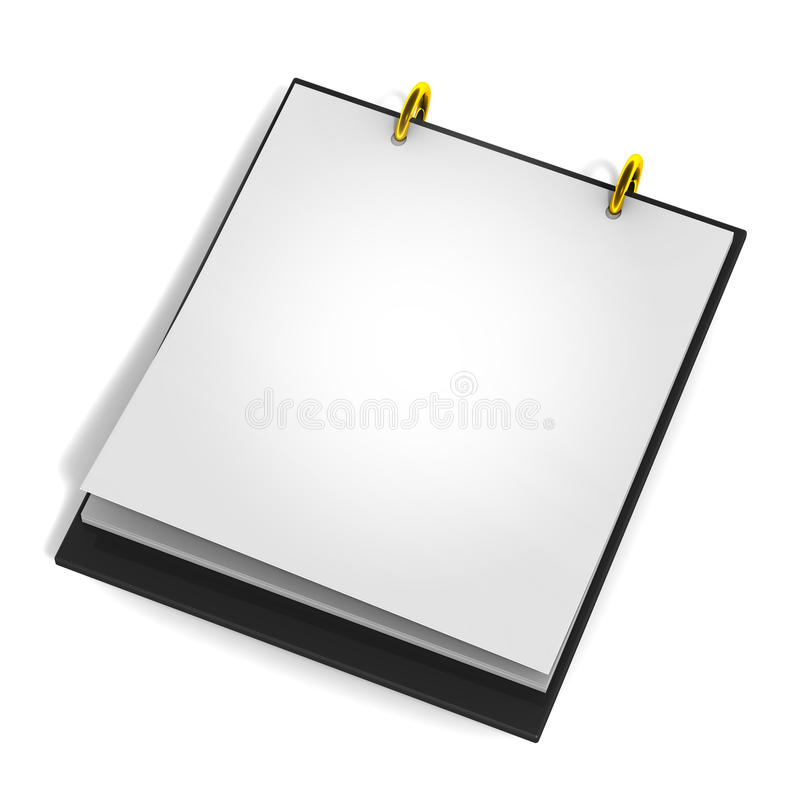 Blank calender pad. A calender pad, blank or empty for your custom date of text with golden rings and black glossy base stock illustration