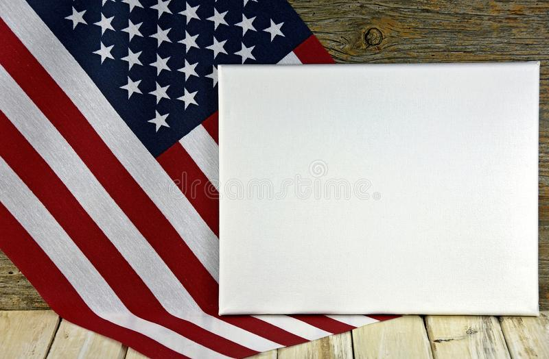 Blank canvas on American flag stock images