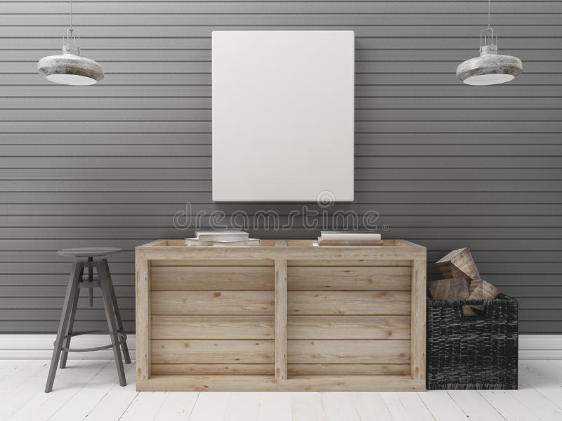 Blank Canvas on Black wall wood industrial interior stock photography