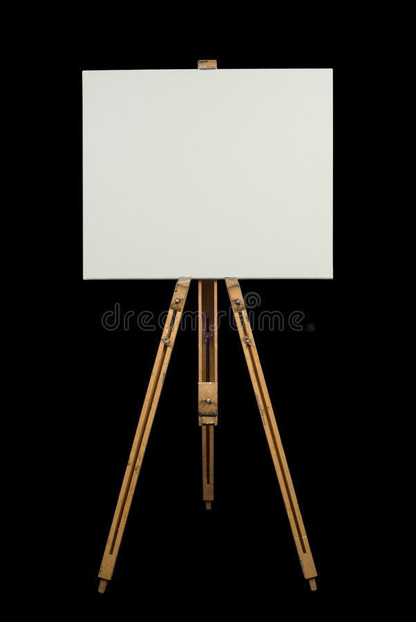 Blank canvas on an easel stock photography