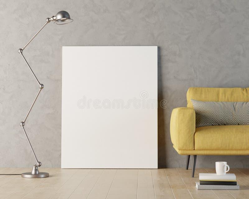 Blank canvas mockup against grey wall, 3d render. Illustration vector illustration