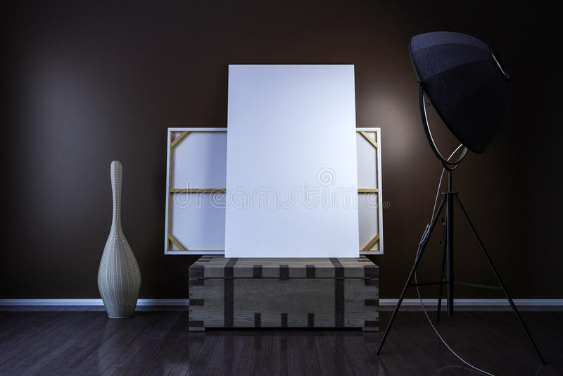 Blank canvas on an old crate, room lighting and decoration. 3D render vector illustration