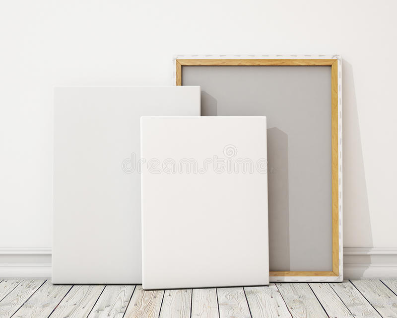 Blank canvas or poster with pile of canvas on floor and wall, background stock illustration