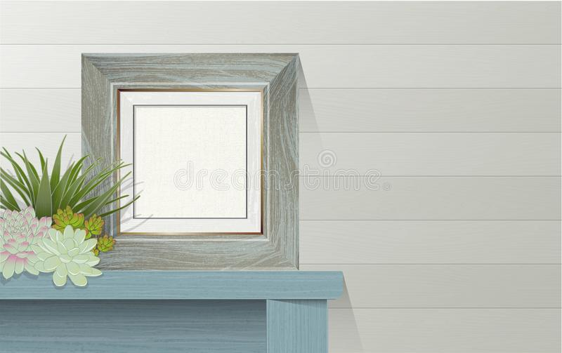 Blank Canvas Wooden Picture Frame on Table stock images