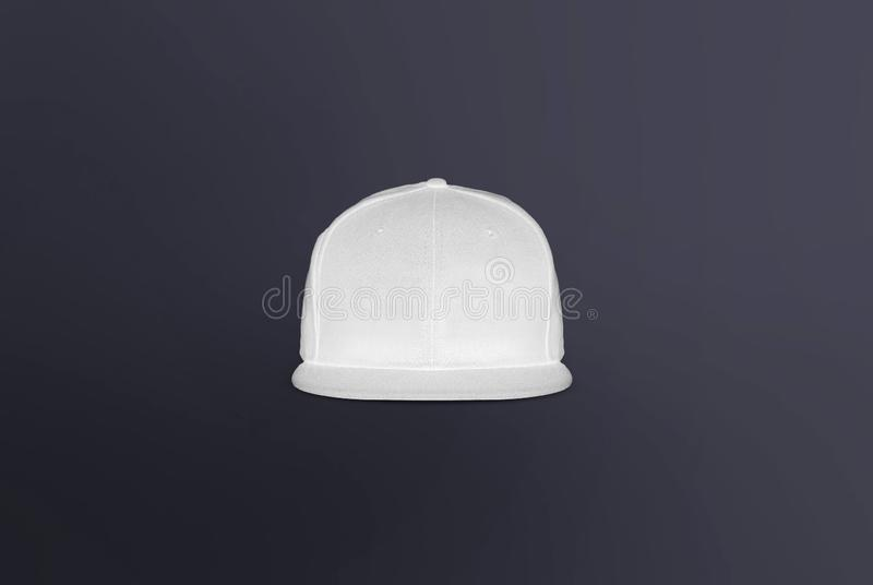 Blank cap front view. Snapback on background. Blank baseball snap back cap for your design. Mock up hat cap for you logo, brand identity etc stock photo