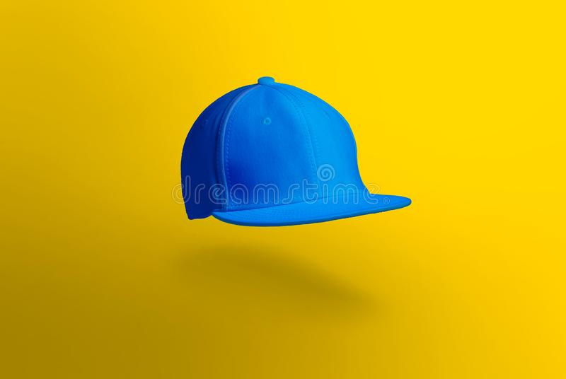 Blank cap in perspective view. Snapback on background. Blank baseball snap back cap for your design. Mock up hat cap for you logo, brand identity etc royalty free stock photo