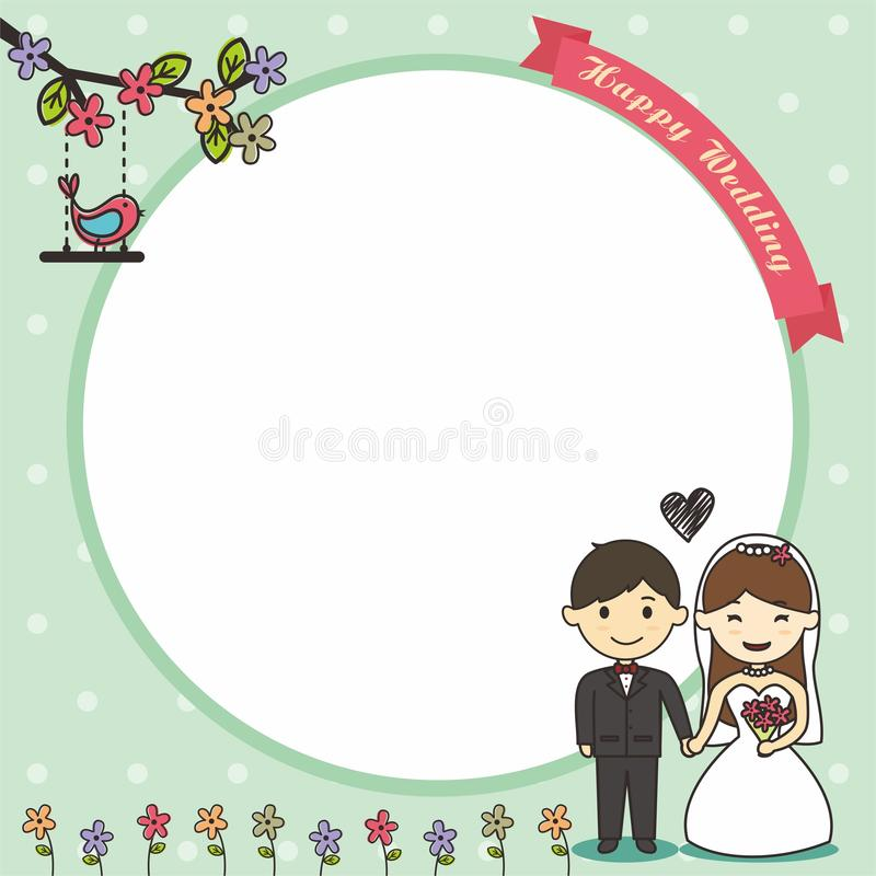 Blank card with bride and groom. Green card frame background with couple cartoon stock illustration