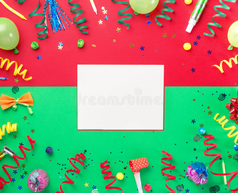 Blank card with colorful party items on colorful background royalty free stock image