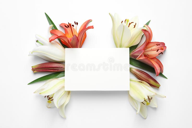 Blank card with fresh lily flowers on white background. Space for text. Blank card with fresh lily flowers on white background, top view. Space for text royalty free stock photo