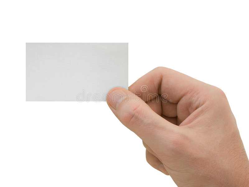 Blank card in hand stock images