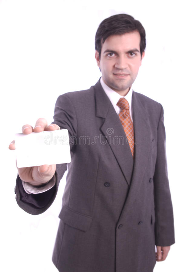 Blank card holded by a businessman. A blank business card holded by a businessman isolated over white background stock photography