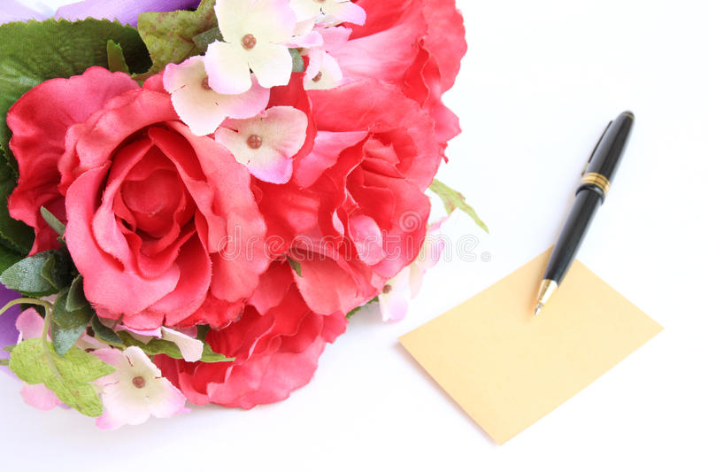 Download Blank Card With Pen And Rose Stock Photo - Image: 23536570