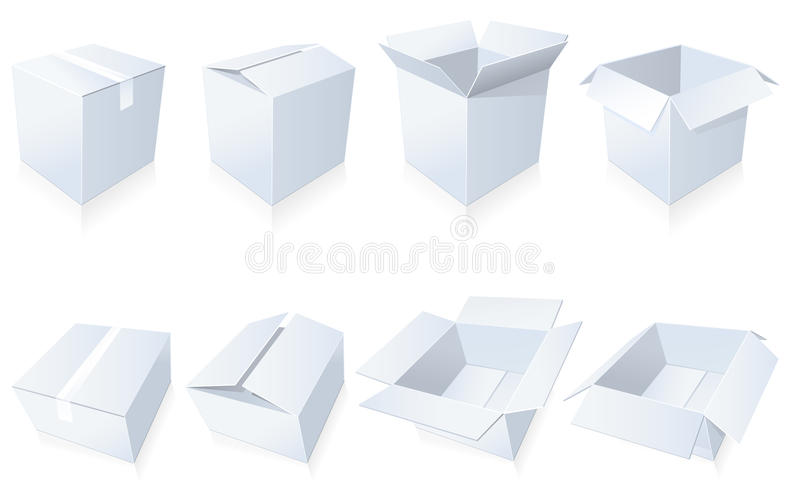Download Blank cardboard  boxes stock vector. Image of gift, white - 17573246