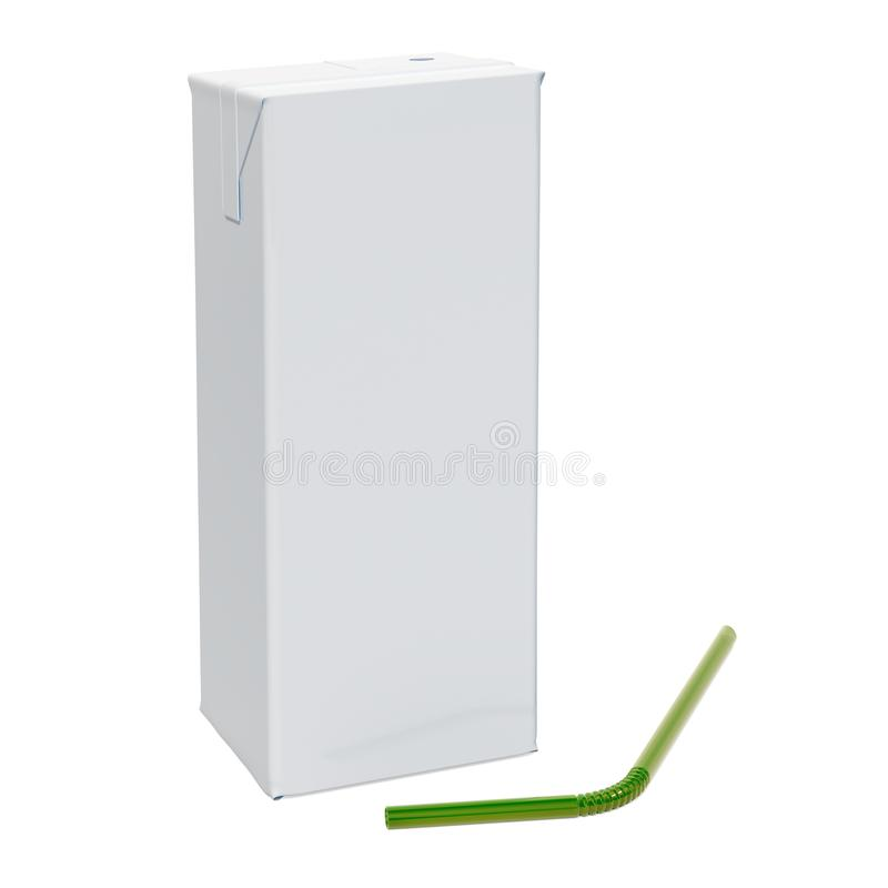 Blank carton packaging container box with straw. Milk or juice p vector illustration