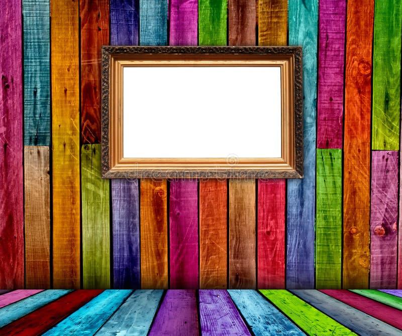 Blank Carved Gilded Frame in Wooden Room vector illustration