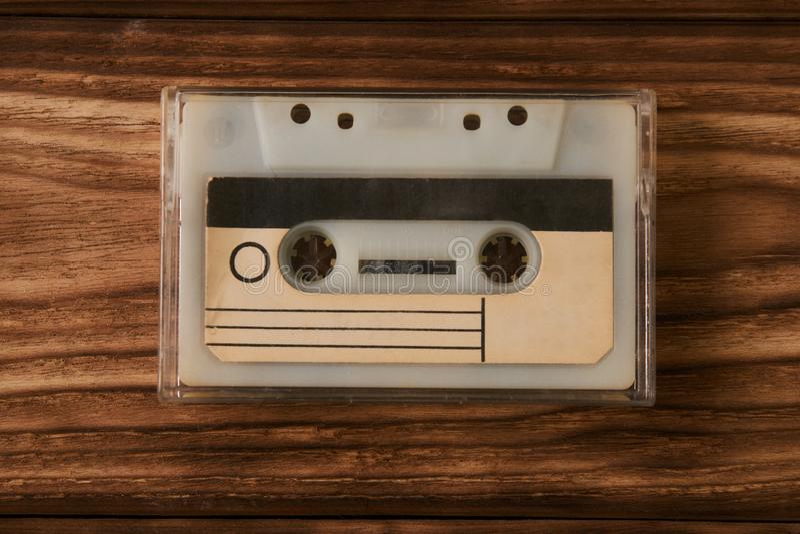 Vintage cassette tape case with retro cassette stock image