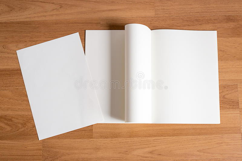 Blank catalog and book , magazines,book mock up on wood background royalty free stock photos