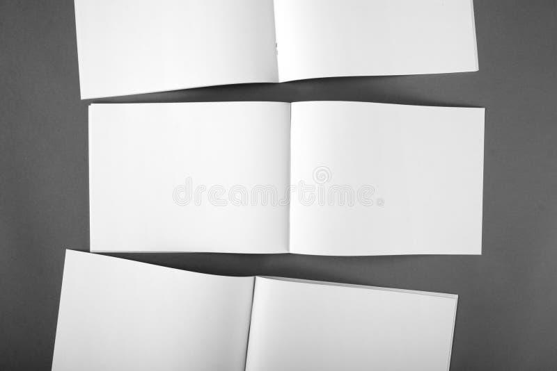 Blank catalog, brochure, magazines, book mock up. Blank opened magazine on grey background royalty free stock photos