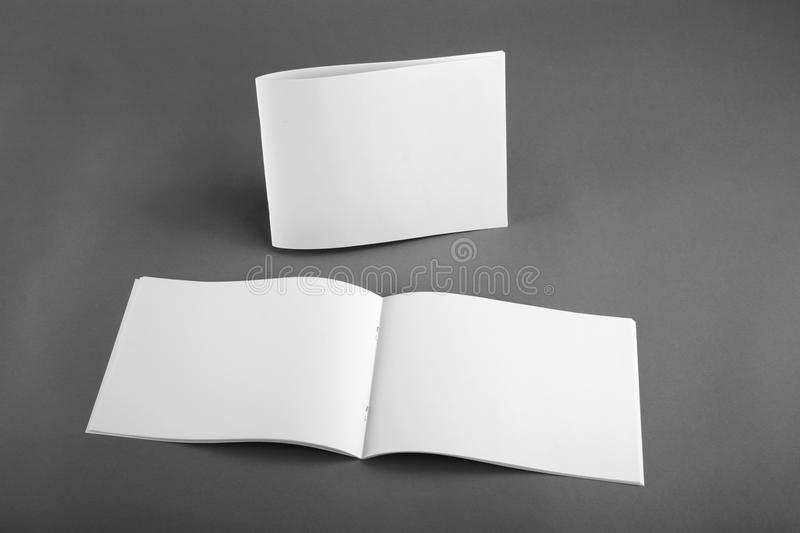 Blank catalog, brochure, magazines, book mock up. Top view stock photo