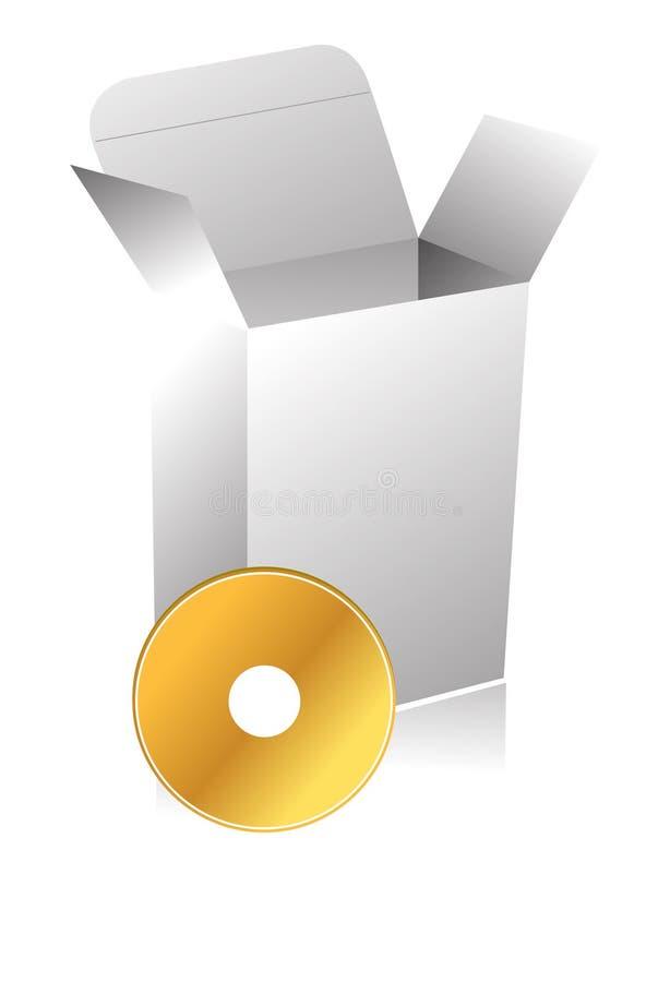 blank cd-skiva för ask 3d royaltyfri illustrationer