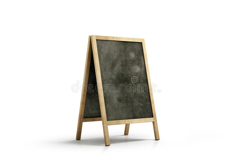 Blank chalk board street stand mockup, isolated stock image
