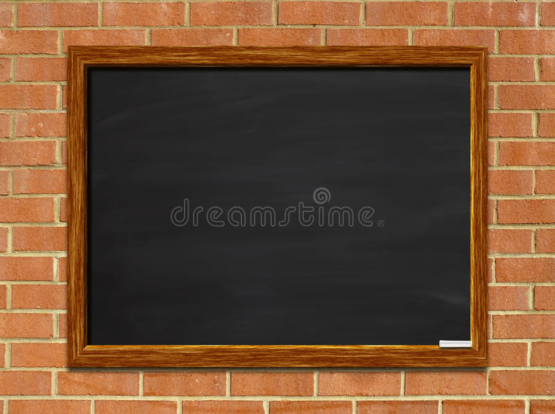 Download Blank chalkboard on brick stock photo. Image of wall - 18257588