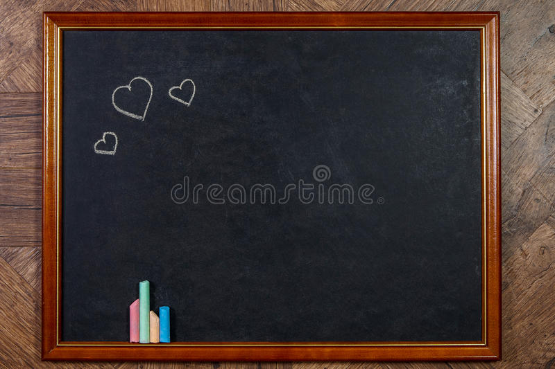 Blank Chalkboard In Wooden Frame Stock Photo - Image of classroom ...