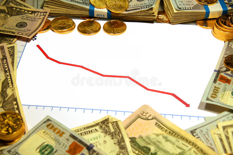 Blank Chart falling down dropping red with money and gold stock images