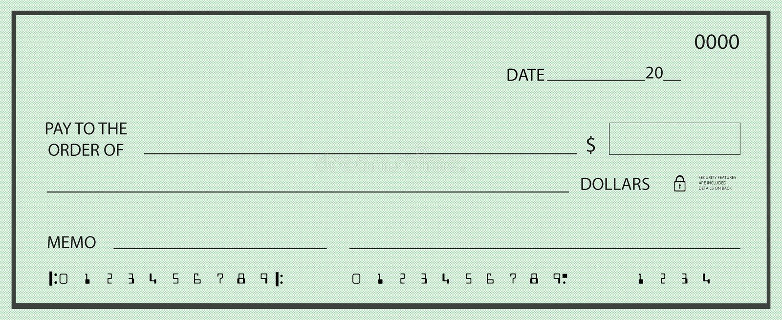 Blank check with false numbers. Illustrations