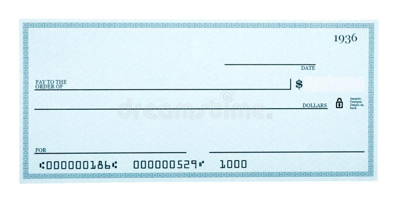 Blank Check Isolated on White stock image