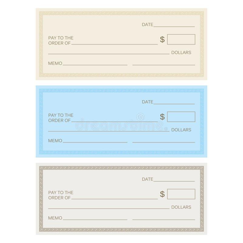 Blank check template. Check template. Banking check templ vector illustration