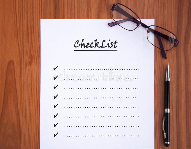 blank checklist stock images