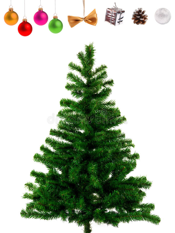 Blank christmas tree and decoration objects royalty free stock photo