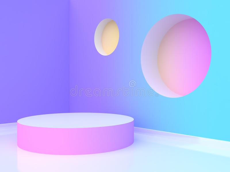 3d rendering blank circle podium abstract violet-purple blue yellow pink gradient wall-room. Blank circle podium abstract violet-purple blue yellow pink gradient stock illustration