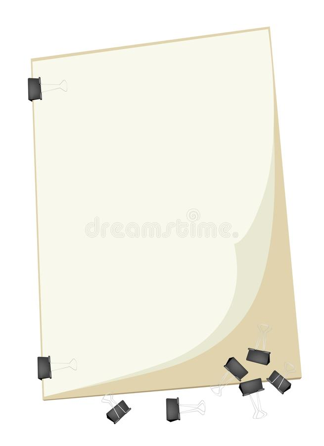 A Blank Clipboard with Group of Paper Clip. Art Supply, Binder Clips Laying on Art Board or Artist Clipboard with Copy Space for Writing or Sketch and Draw A stock illustration