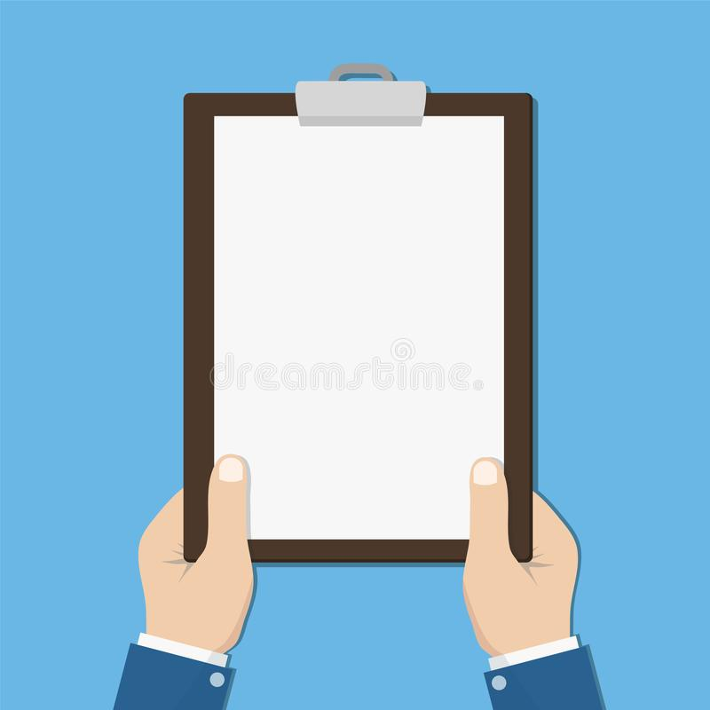 Blank clipboard in hands businessman. Empty space for text. Blank sheet white paper stock illustration