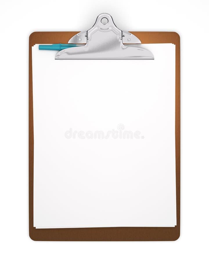 blank clipboard isolerad penna royaltyfri bild