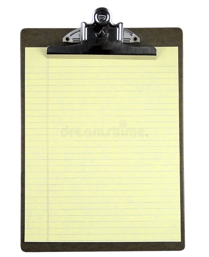 Blank clipboard notepad isolated on white. royalty free stock photos