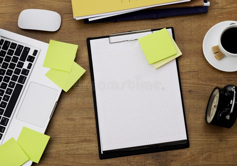 Clipboard on office desk stock images