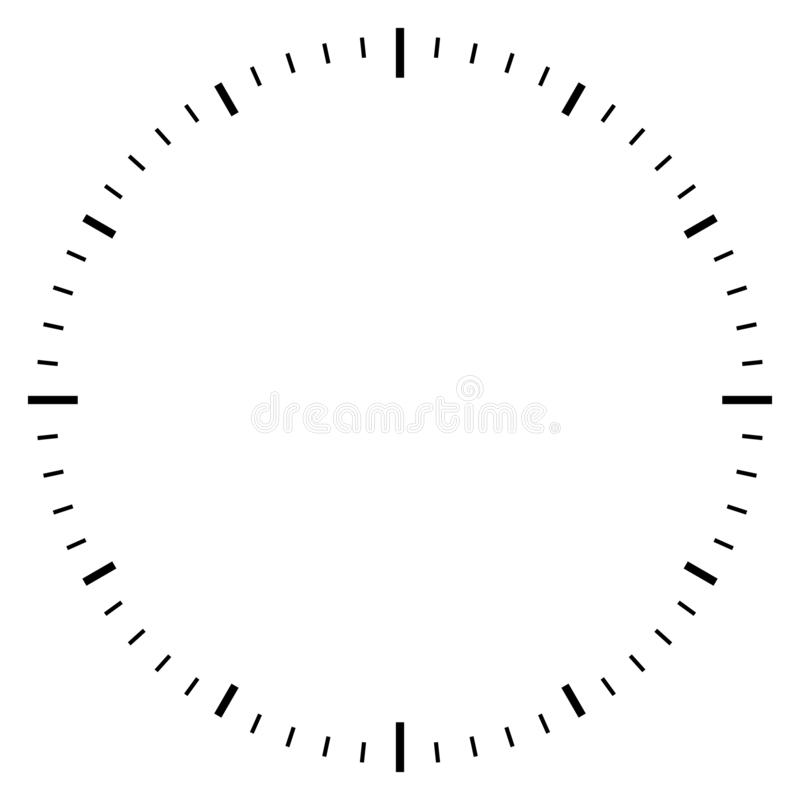 Blank clock dial face. Vector illustration on white background stock illustration