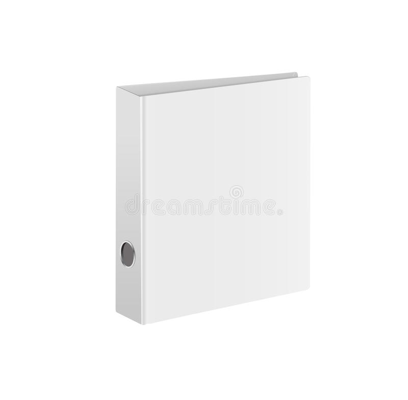 Blank closed office binder. White cover. Isometric view, on white background. Vector illustration.  stock illustration