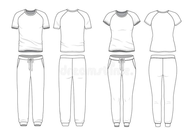 Blank clothing templates. stock illustration