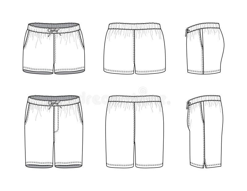 Blank clothing templates of swimming shorts. royalty free illustration
