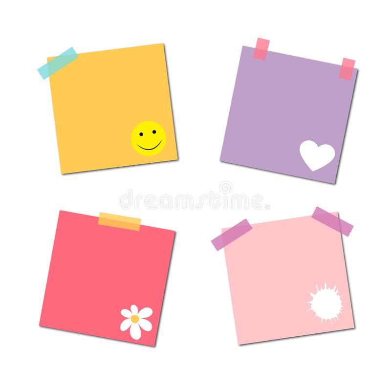 Blank color message sticky papers set vector illustration stock photos