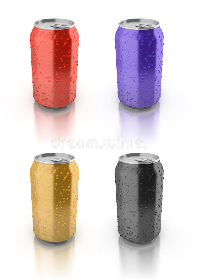 Blank colored aluminium cans stock illustration